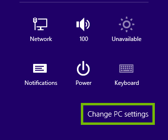 Windows 8 Settings Menu with Change PC settings highlighted.