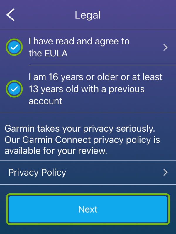 EULA agreement and age confirmation checkmarks, and Next button highlighted in Garmin Connect app.