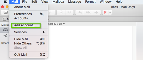 Mac Mail mail menu drop down showing add account