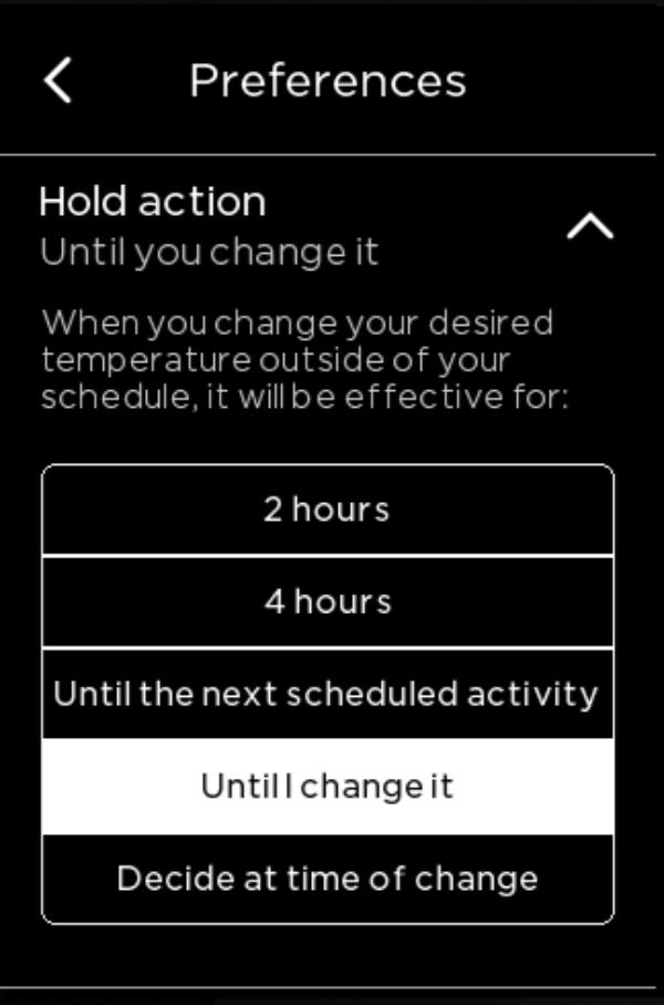 Hold Action preferances