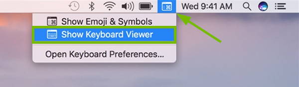 Keyboard icon pointed out in macOS menu bar and Show Keyboard Viewer option highlighted in menu.