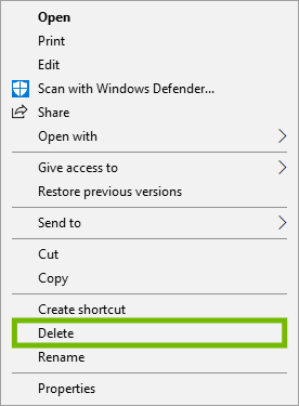 Right-click file menu with Delete highlighted.