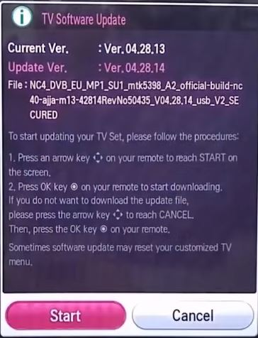 TV software update screen with instructions. Screenshot.