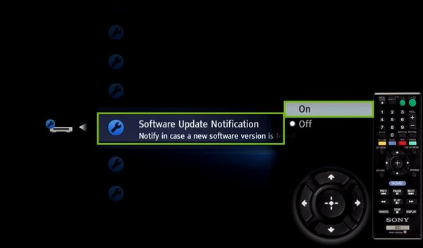 System settings with software update notification and on highlighted.