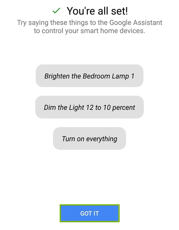 Add device to Google Home complete.