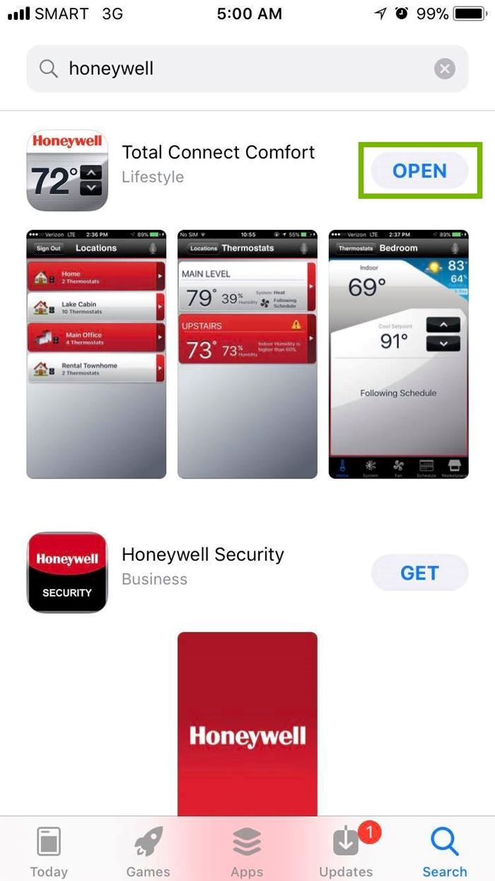 Honeywell app with Open button selected. Screenshot.
