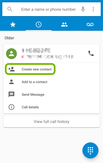 Create New Contact highlighted for selected phone number.