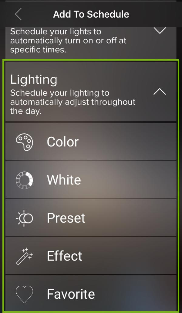 Schedule Lighting highlighted in ilumi app.