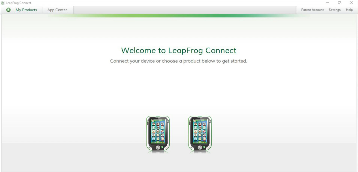 LeapFrog Connect software welcome screen. Screenshot.