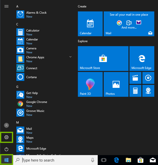 Start menu with settings icon highlighted.