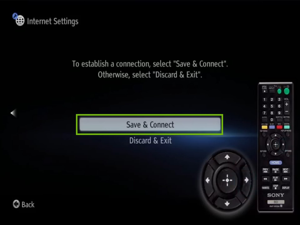 complete screen with safe and connect highlighted