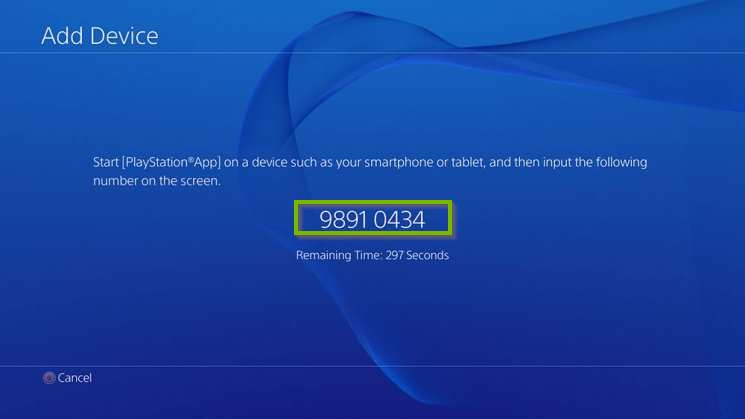 PlayStation 4 with 8-digit code from previous step. Screenshot.