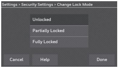 Change Lock Mode screen with Unlocked, Partially Locked and fully locked options.
