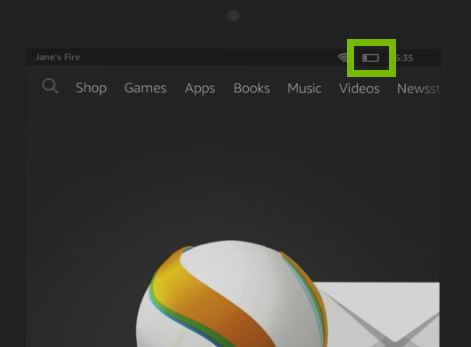 Battery symbol highlighted on tablet screen
