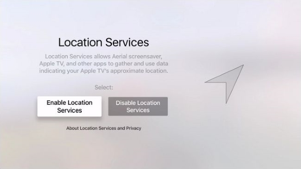 Location Services toggle during Apple TV setup.