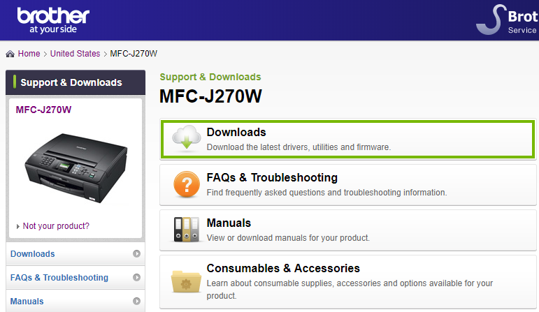 Brother website highlighting the downloads link. Screenshot.