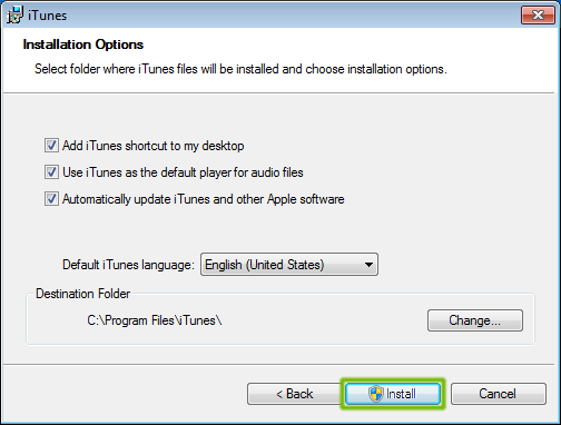 iTunes install options with Install button highlighted.