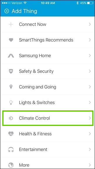 Selecting climate control