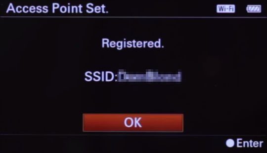 Camera wireless connection confirmation screen