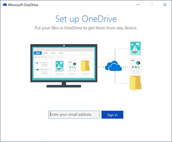 Microsoft Onedrive setup page