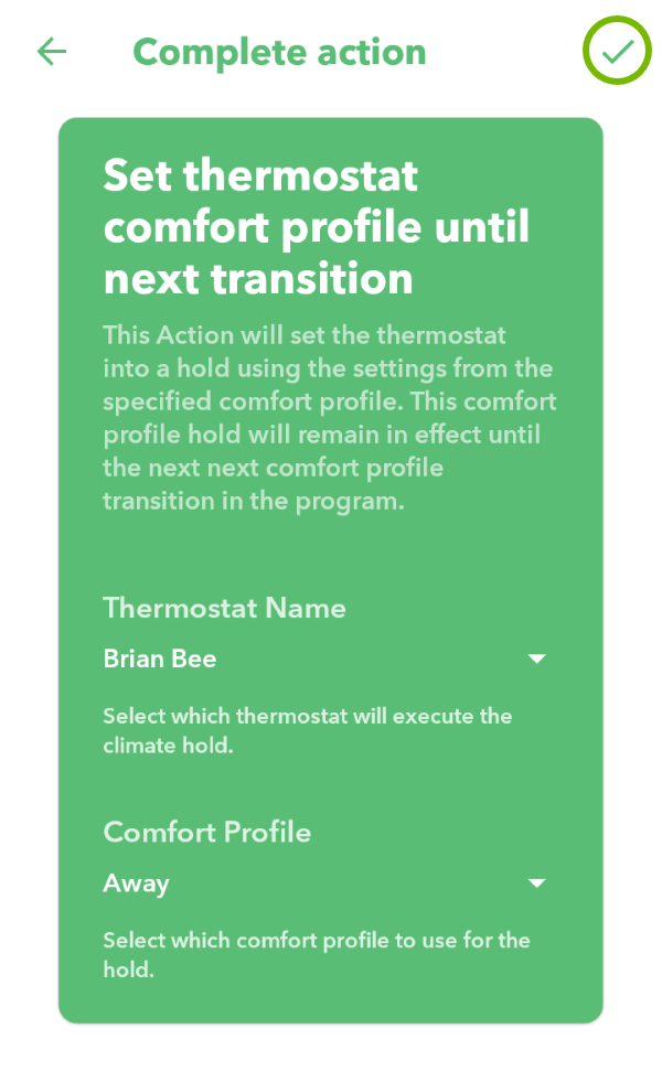 Checkmark highlighted to complete action in IFTTT app.