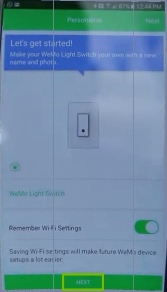 Setup Switch with Next highlighted.