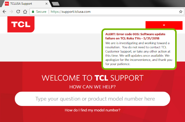 Alert indicating service issues on support webpage.