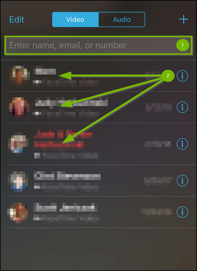 iOS Facetime app highlighting the number entry field and recent contacts.