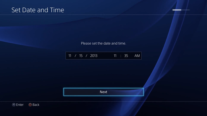 Date and time entry screen.