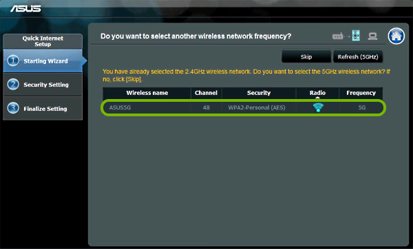5GHz network highlighted in Wi-Fi network list in range extender setup wizard.