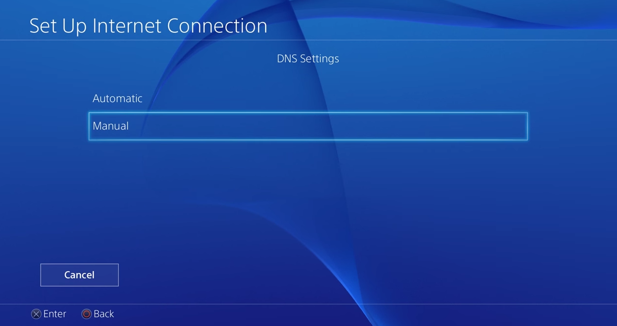 PS4 dns settings with manual selected