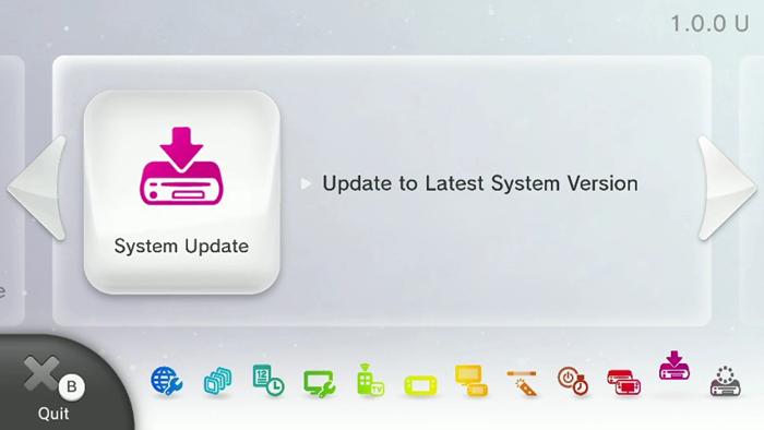 System Update screen