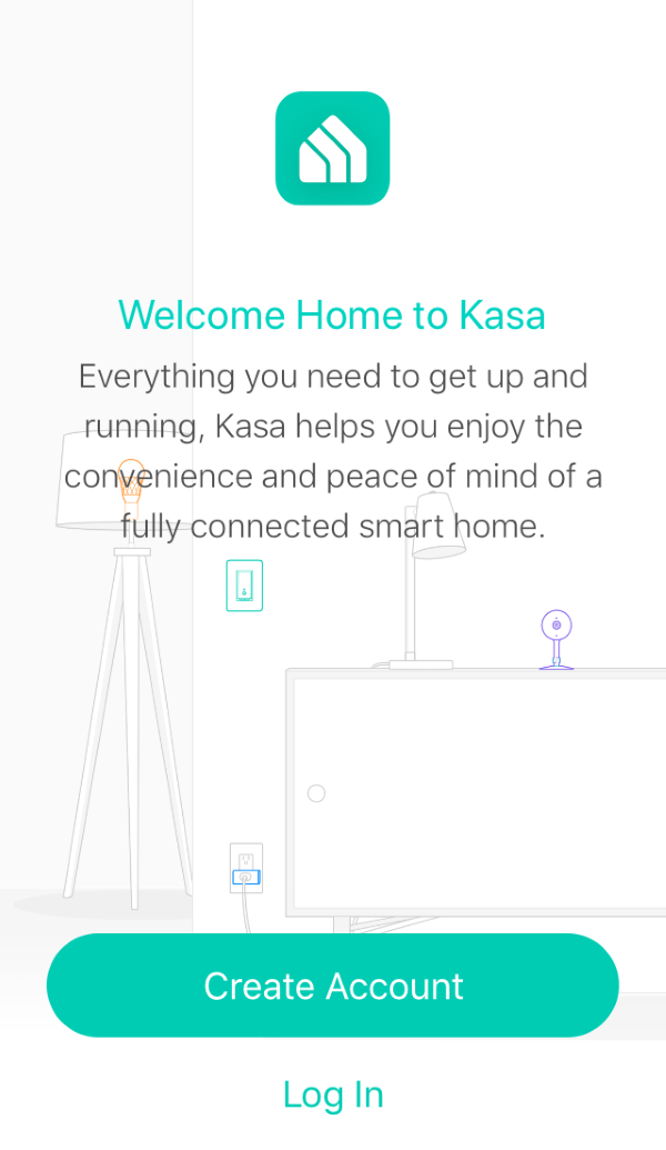 Kasa Smart app login screen.