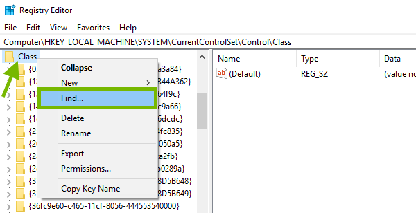 Class subkey pointed out and Find option highlighted in Windows Registry.