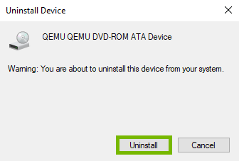 Uninstall option highlighted on confirmation prompt.