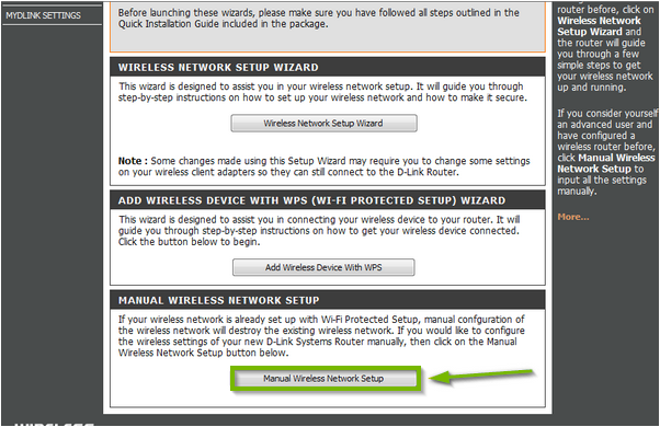 Network settings with Manual Wireless Network Setup button selected. Screenshot.
