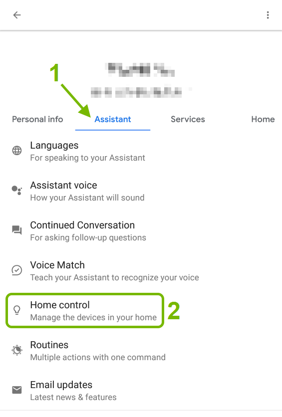 Assistant tab pointed out and Home Control option highlighted in Google Assistant settings.