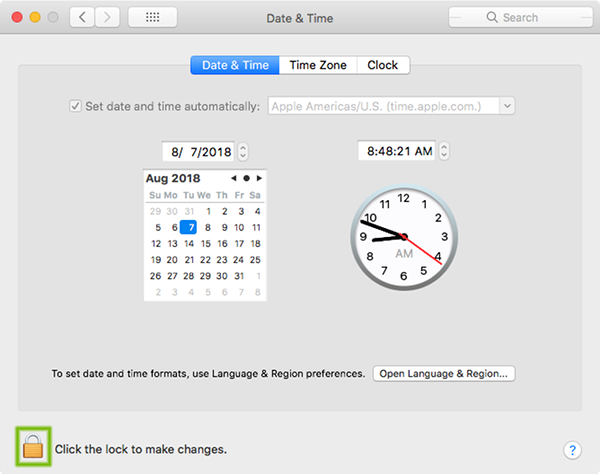 Date and Time preferences with lock highlighted.