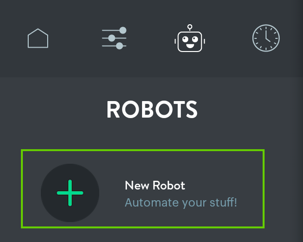 New Robot button