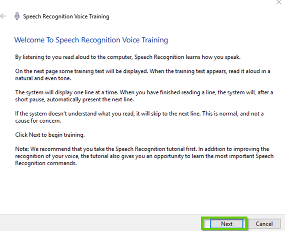Windows 10 speech recognition wizard
