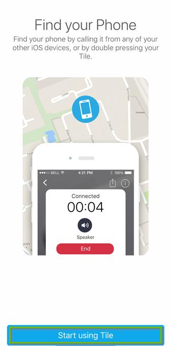 Tile app Find your Phone screen. Screenshot.