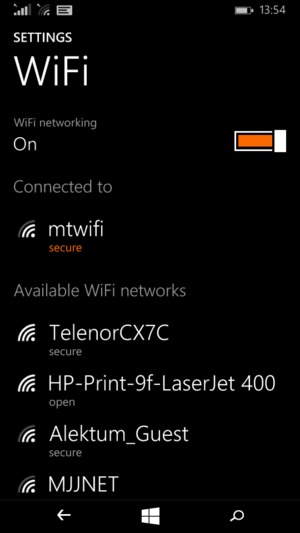 Windows phone Wi-Fi menu displaying the device is currently connected to the chosen Wi-Fi network.