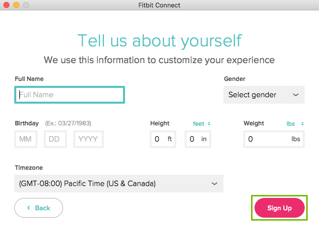 Tell us about yourself page with Full Name, Gender, Birthday, height, and weight with Sign Up highlighted