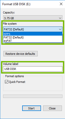 Format dialog with File system and Volume label highlighted.