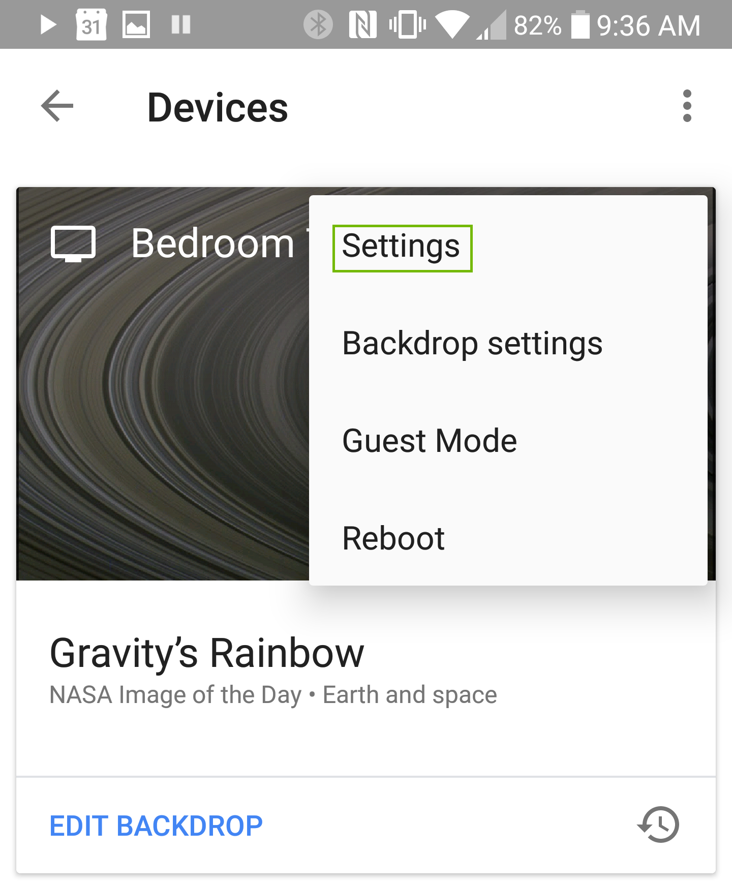 Device menu with Settings highlighted.