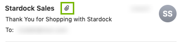 Attachment icon highlighted