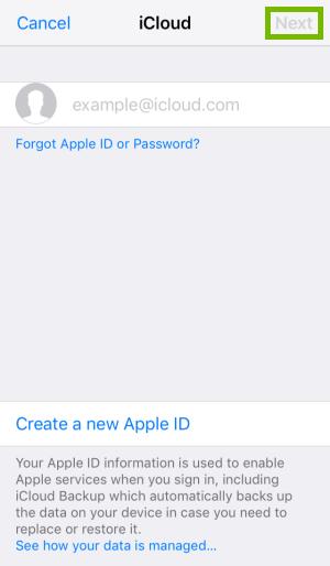 iCloud login page