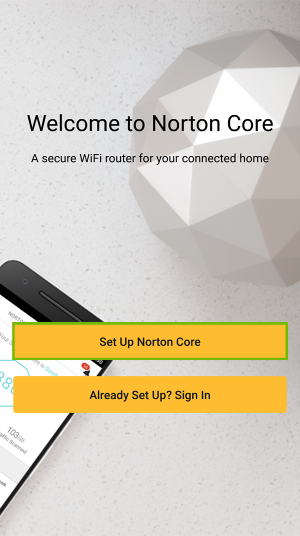 Norton Core welcome screen with Set Up Norton Core highlighted.