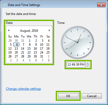Date and time settings with calendar, time, and OK button highlighted.