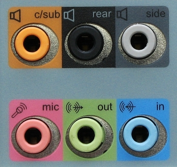 Color coded rear panel PC audio sockets